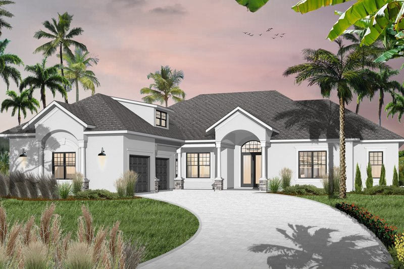 Mediterranean Style House Plan - 3 Beds 3 Baths 2489 Sq/Ft Plan #23-2223 Exterior - Front Elevation