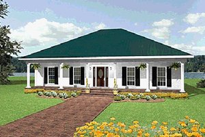Southern Exterior - Front Elevation Plan #44-105