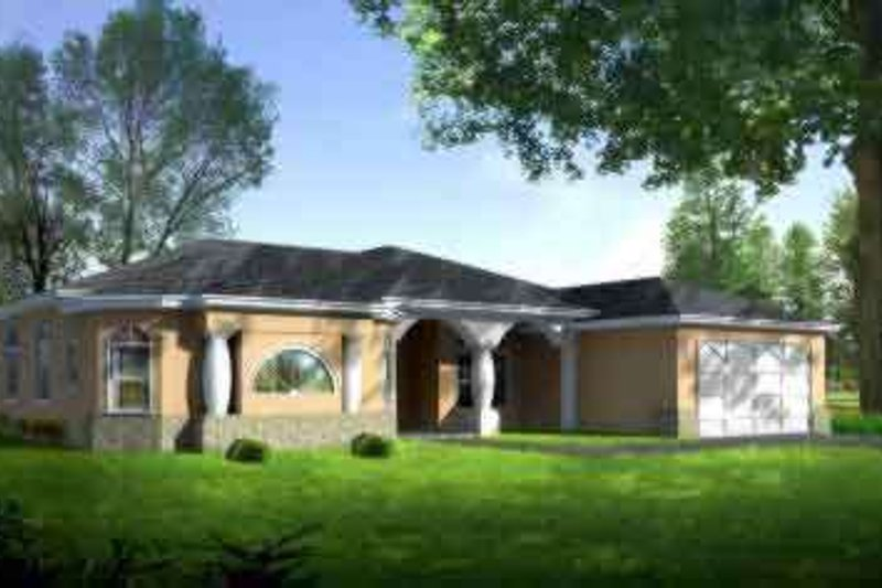 European Style House Plan - 4 Beds 3 Baths 3523 Sq/Ft Plan #1-1473 Exterior - Front Elevation