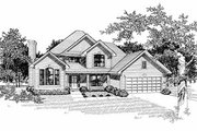 Traditional Style House Plan - 4 Beds 2.5 Baths 2523 Sq/Ft Plan #70-408 Exterior - Front Elevation