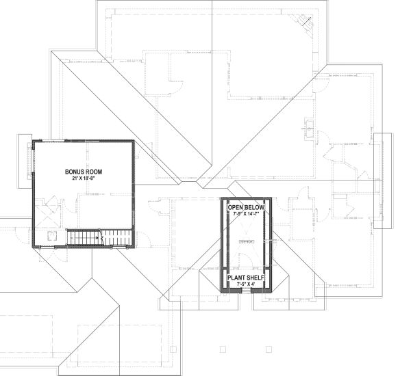 Adobe / Southwestern Floor Plan - Upper Floor Plan #1069-22