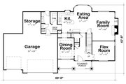 Craftsman Style House Plan - 4 Beds 3.5 Baths 2646 Sq/Ft Plan #20-2122 Floor Plan - Main Floor