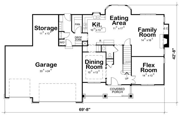 Craftsman Floor Plan - Main Floor Plan #20-2122
