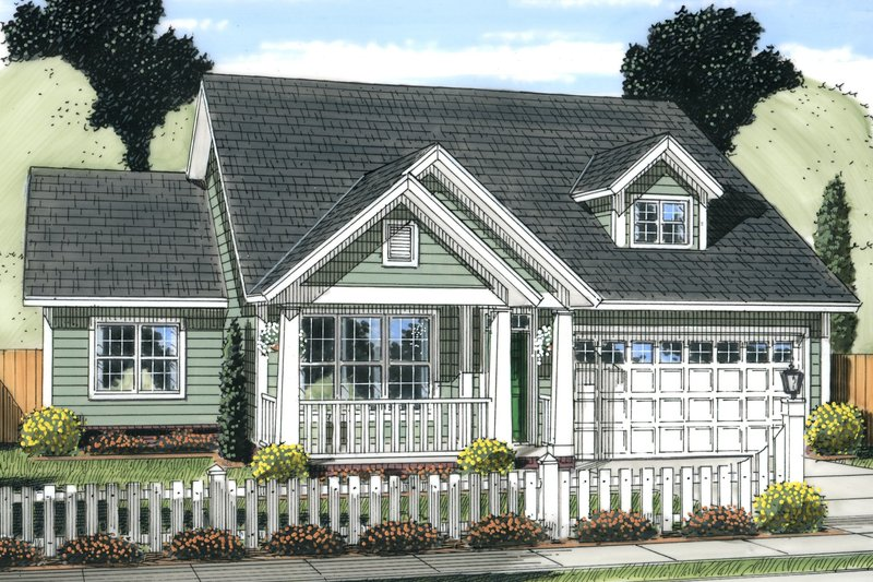 Cottage Exterior - Front Elevation Plan #513-2089
