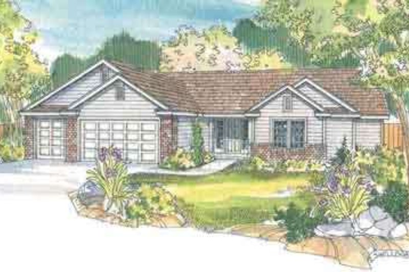 Ranch Exterior - Front Elevation Plan #124-474