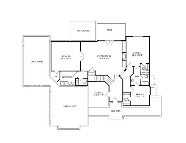 Craftsman Floor Plan - Lower Floor Plan Plan #920-105