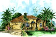 Mediterranean Style House Plan - 4 Beds 3 Baths 2259 Sq/Ft Plan #27-281 Exterior - Front Elevation