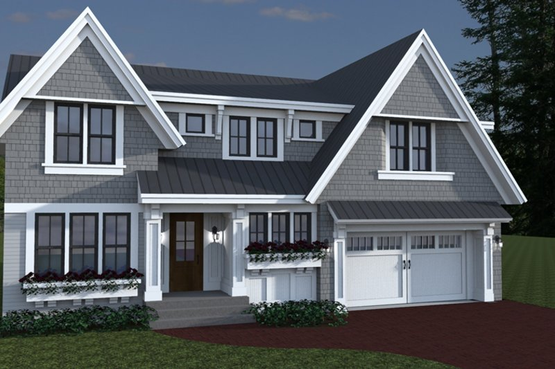 Craftsman Style House Plan - 4 Beds 3.5 Baths 3553 Sq/Ft Plan #51-565 Exterior - Front Elevation