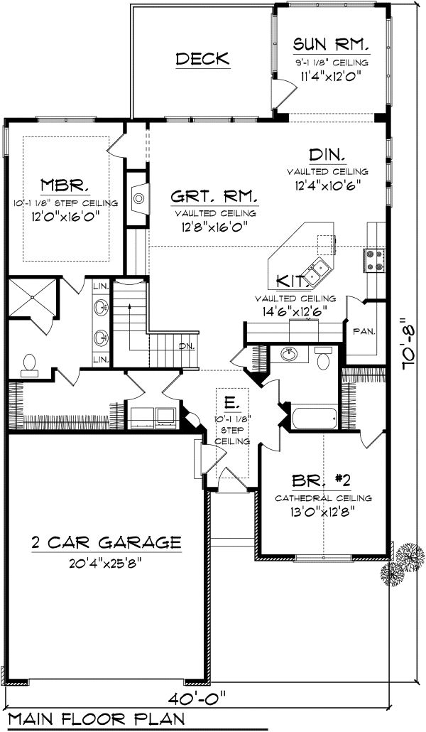 Traditional Floor Plan - Main Floor Plan Plan #70-1110