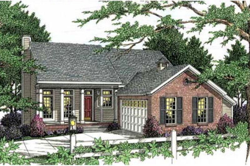 Southern Exterior - Front Elevation Plan #406-277