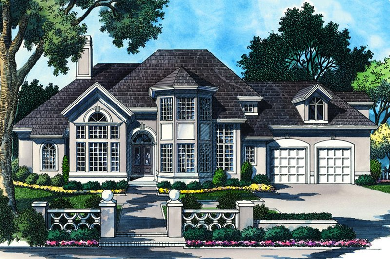 Mediterranean Exterior - Front Elevation Plan #930-103