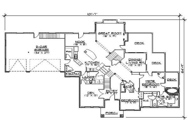 Dream House Plan - Traditional Floor Plan - Main Floor Plan #5-433