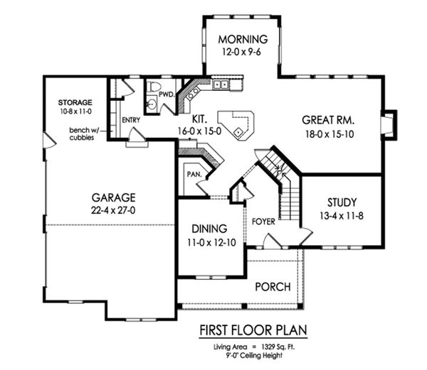 Traditional Floor Plan - Main Floor Plan Plan #1010-233
