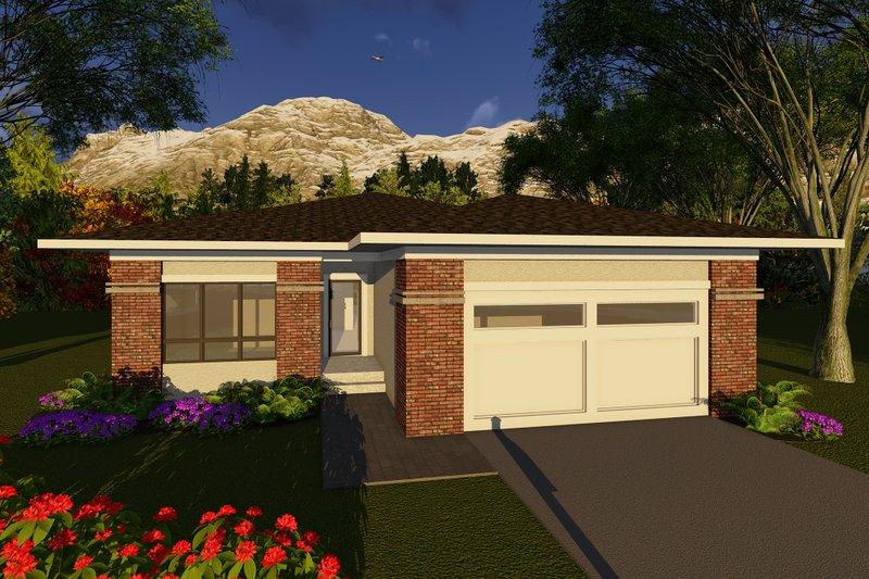 House Plan Design - Prairie Exterior - Front Elevation Plan #70-1261