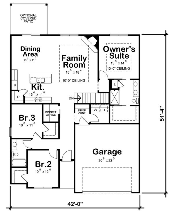 Dream House Plan - Farmhouse Floor Plan - Main Floor Plan #20-2354