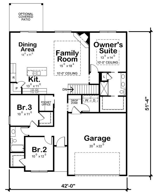 House Plan Design - Farmhouse Floor Plan - Main Floor Plan #20-2354