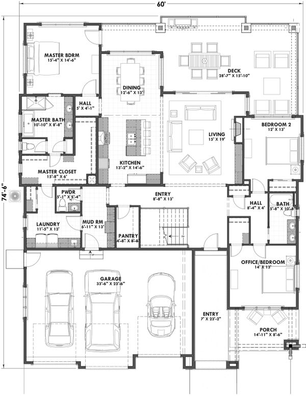 Ranch Floor Plan - Main Floor Plan Plan #1069-7