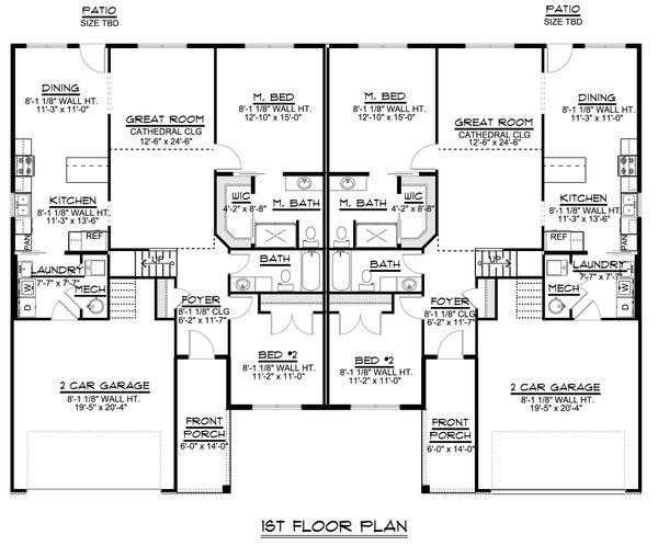 Craftsman Floor Plan - Main Floor Plan Plan #1064-38