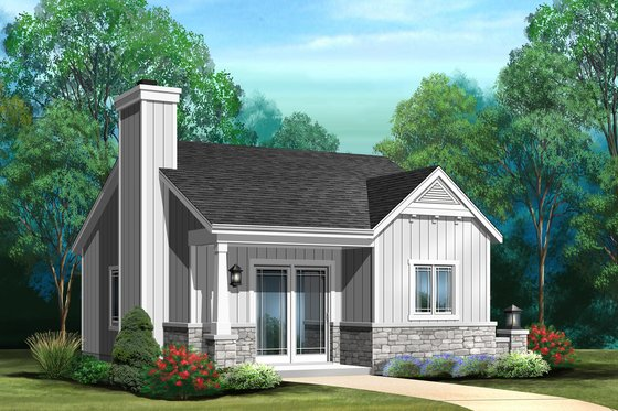 Cottage Exterior - Front Elevation Plan #22-608