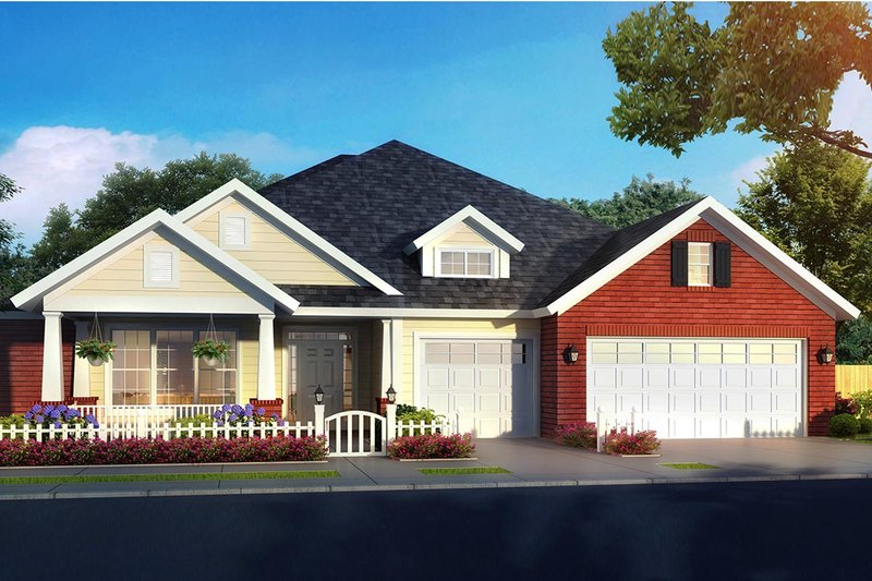Craftsman Style House Plan - 4 Beds 3.5 Baths 2425 Sq/Ft Plan #513-2168 Exterior - Front Elevation