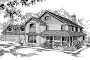 Country Style House Plan - 5 Beds 3 Baths 3180 Sq/Ft Plan #60-300 Exterior - Front Elevation