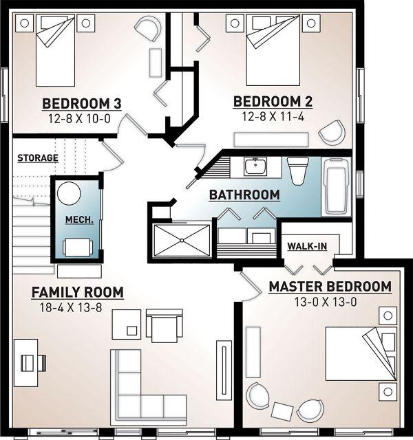 Architectural House Design - Cottage Floor Plan - Lower Floor Plan #23-2713