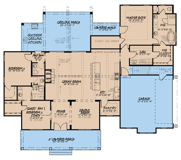 Dream House Plan - Farmhouse Floor Plan - Main Floor Plan #923-183