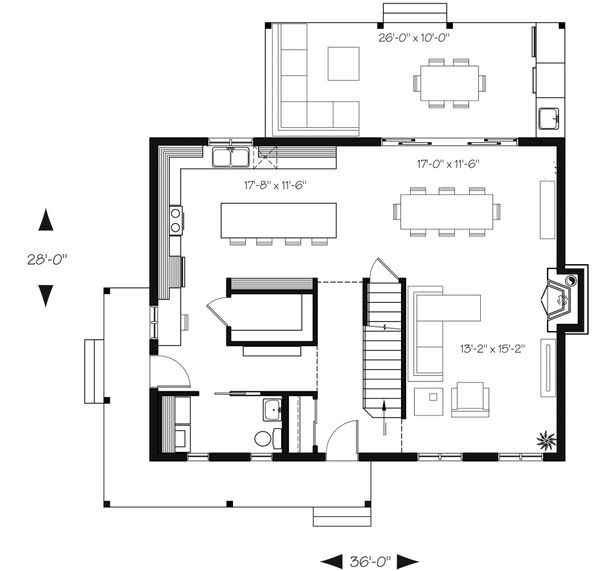 Country Floor Plan - Main Floor Plan Plan #23-2670
