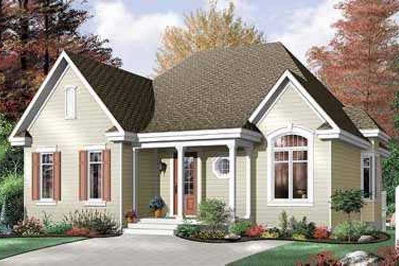 European Style House Plan - 3 Beds 1 Baths 1321 Sq/Ft Plan #23-322 Exterior - Front Elevation