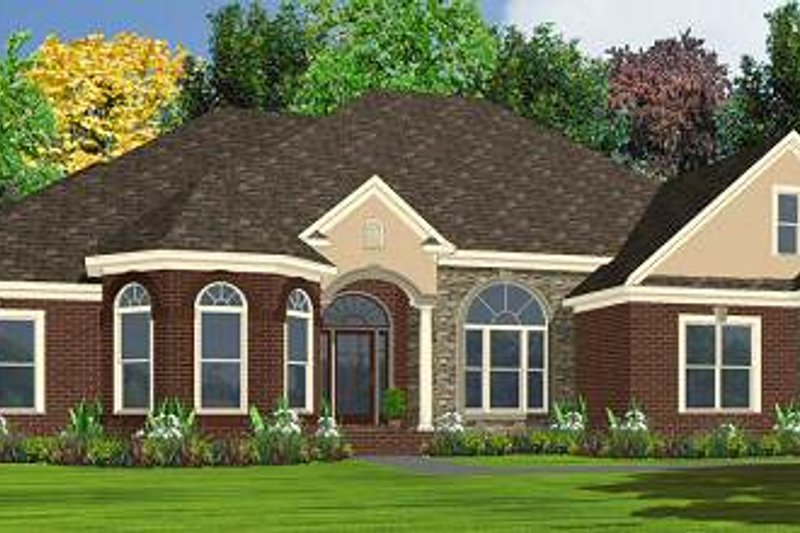 European Style House Plan - 4 Beds 3 Baths 2572 Sq/Ft Plan #63-173 Exterior - Front Elevation