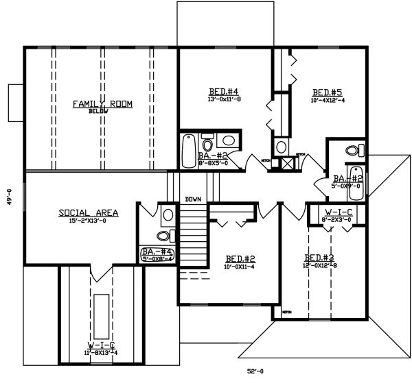 Dream House Plan - Traditional Floor Plan - Upper Floor Plan #405-338