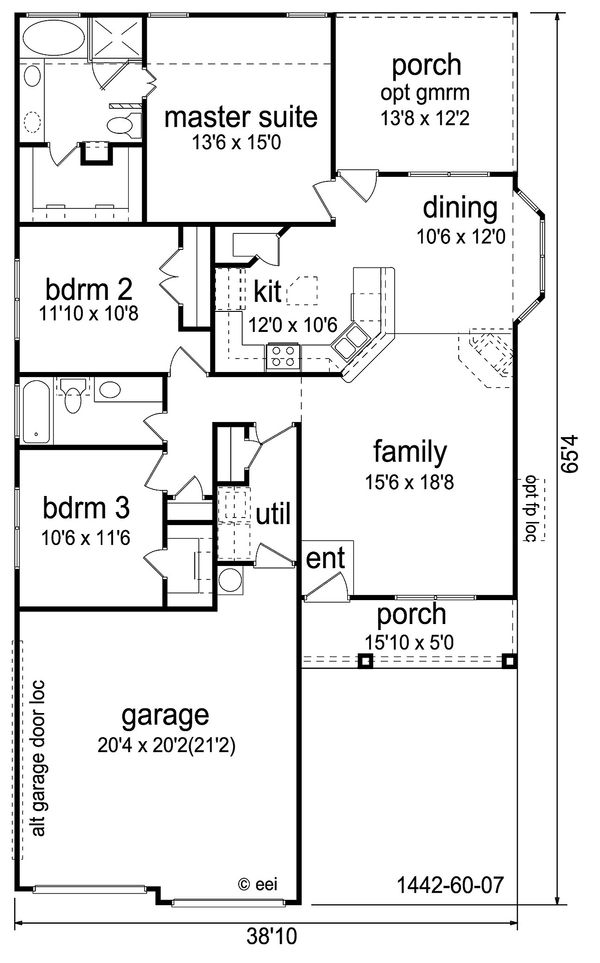 Craftsman Floor Plan - Main Floor Plan Plan #84-451