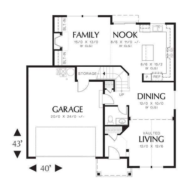 Craftsman Floor Plan - Main Floor Plan Plan #48-520