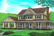 Farmhouse Style House Plan - 4 Beds 3.5 Baths 2266 Sq/Ft Plan #11-204 Exterior - Front Elevation