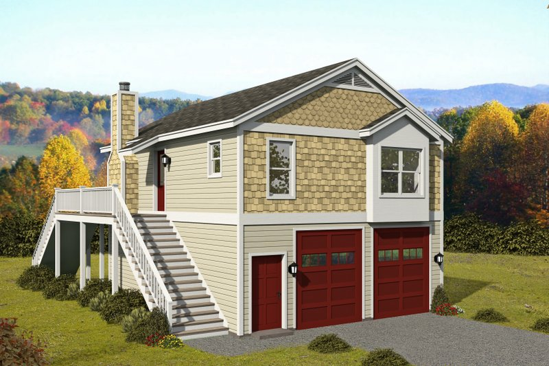 Contemporary Style House Plan - 1 Beds 1 Baths 1786 Sq/Ft Plan #932-350 Exterior - Front Elevation