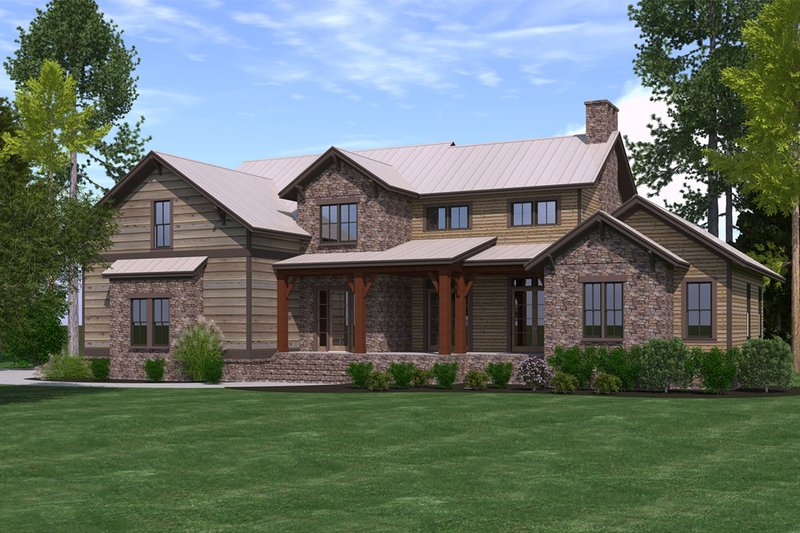 Craftsman Style House Plan - 4 Beds 3 Baths 2860 Sq/Ft Plan #1071-23 Exterior - Front Elevation