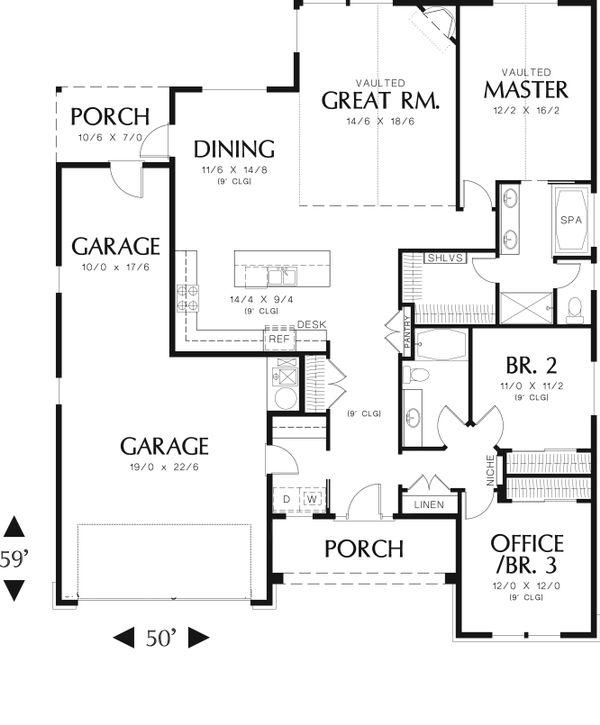 Traditional Floor Plan - Main Floor Plan Plan #48-594