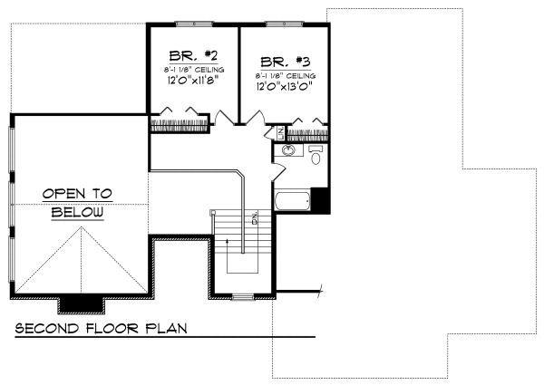 Traditional Floor Plan - Upper Floor Plan Plan #70-876