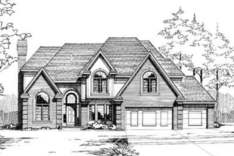 European Exterior - Front Elevation Plan #20-1085