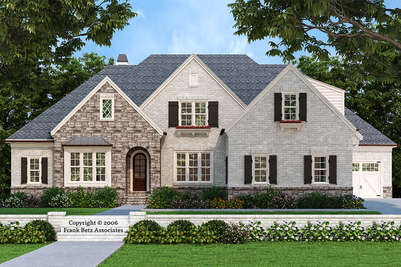 European Style House Plan - 4 Beds 4 Baths 3635 Sq/Ft Plan #927-31 Exterior - Front Elevation