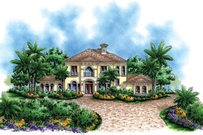 Mediterranean Style House Plan - 3 Beds 4 Baths 3571 Sq/Ft Plan #27-295 Exterior - Front Elevation