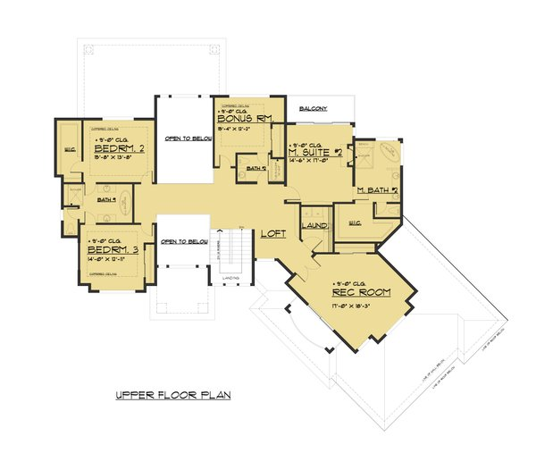 Contemporary Floor Plan - Upper Floor Plan Plan #1066-73