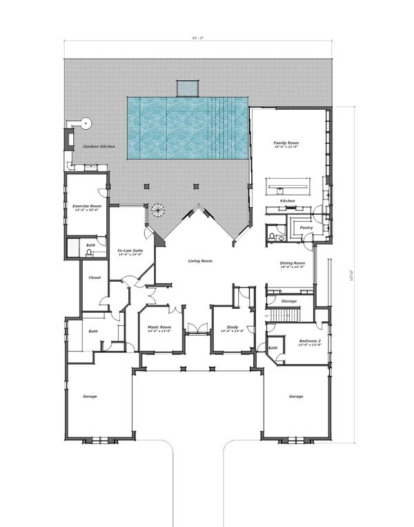 Southern Floor Plan - Main Floor Plan Plan #481-9
