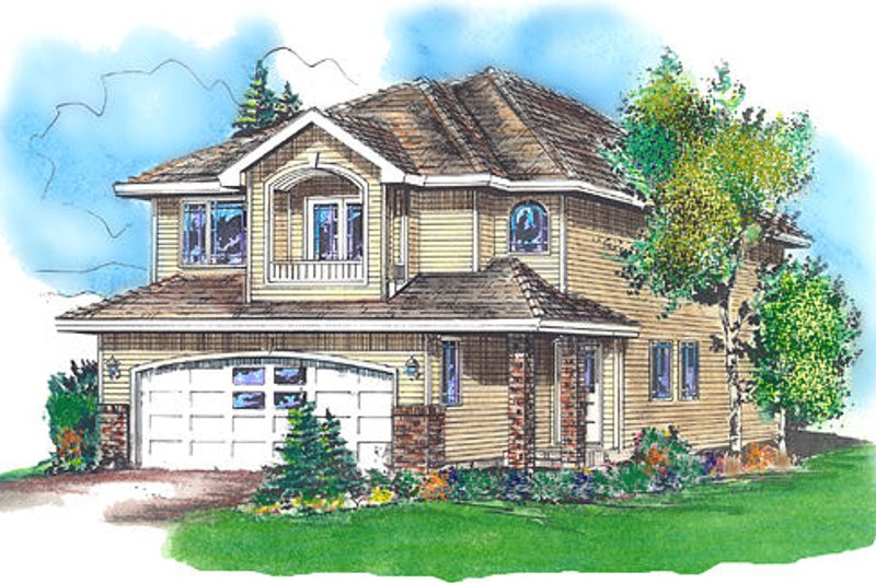 Traditional Style House Plan - 3 Beds 3 Baths 1557 Sq/Ft Plan #18-4254 Exterior - Front Elevation