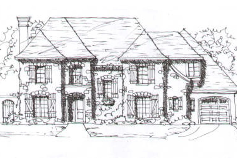 European Style House Plan - 5 Beds 4.5 Baths 4497 Sq/Ft Plan #141-233 Exterior - Front Elevation