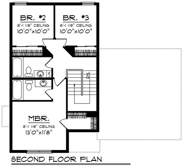 Traditional Floor Plan - Upper Floor Plan Plan #70-1187
