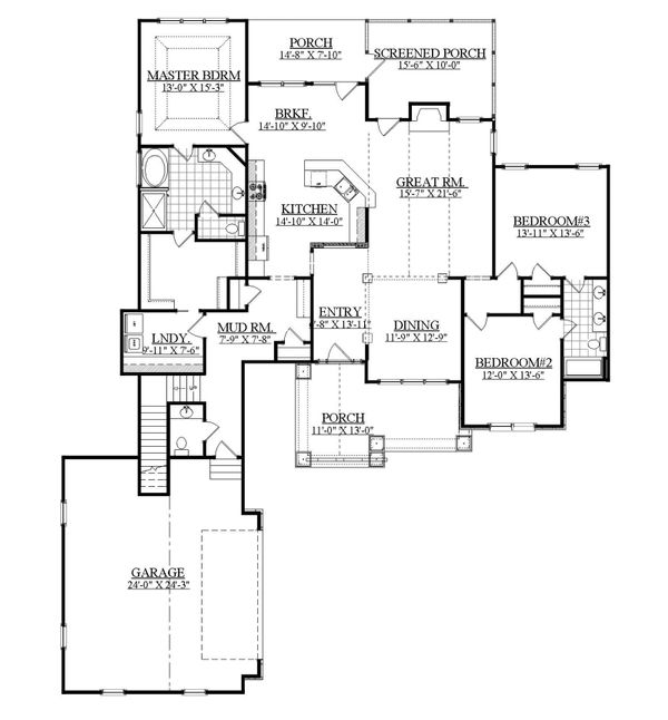 Ranch Floor Plan - Main Floor Plan Plan #1071-12