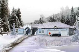 Ranch Exterior - Front Elevation Plan #1-1129
