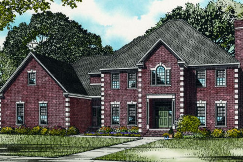 European Style House Plan - 4 Beds 5 Baths 4420 Sq/Ft Plan #17-2340 Exterior - Front Elevation