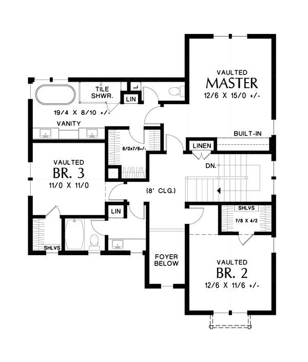 Dream House Plan - Contemporary Floor Plan - Upper Floor Plan #48-987